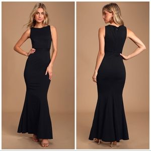 LuLus Forever in a Moment Black Lace Maxi Dress